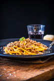 Pasta with meat sauce or pasta with ragu bolognese. Royalty Free Stock Photos