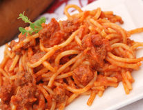 Pasta with meat sauce Stock Photo
