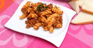 Pasta with meat sauce Stock Photography