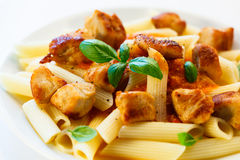 Pasta with meat, tomato sauce, parmesan and vegetables Royalty Free Stock Photos