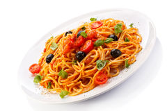 Pasta with meat, tomato sauce, parmesan and vegetables Stock Photography