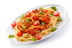 Pasta with meat, tomato sauce, parmesan and vegetables Royalty Free Stock Photography