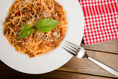 Pasta with meat. Tomato sauce and vegetables Stock Photo