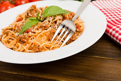 Pasta with meat, tomato sauce Royalty Free Stock Images