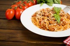 Pasta with meat, tomato sauce Stock Photos