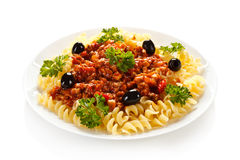 Pasta with meat, tomato sauce and vegetables Stock Image