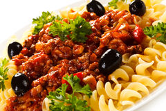 Pasta with meat, tomato sauce and vegetables Royalty Free Stock Images