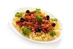 Pasta with meat, tomato sauce and vegetables Royalty Free Stock Photos