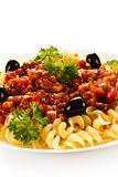 Pasta with meat, tomato sauce and vegetables Stock Photo
