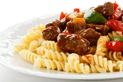 Pasta with meat Stock Photography