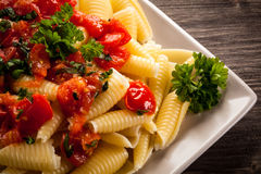 Pasta with meat Stock Photos