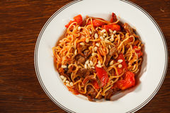 Pasta with meat Royalty Free Stock Photography