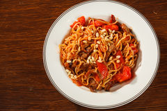 Pasta with meat Royalty Free Stock Photo