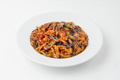 Pasta with meat and vegetables   on white stock photos