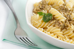 Pasta with meat and vegetagbles Royalty Free Stock Photo