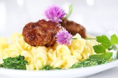 Pasta with meatball and spinach Royalty Free Stock Image