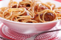 Pasta with meatballs Stock Photos