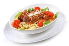 Pasta with meatballs Stock Photos