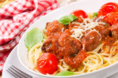 Pasta with meatballs Stock Photography