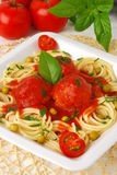 Pasta with meatballs. Meatballs with spaghetti and tomato sauce stock photo
