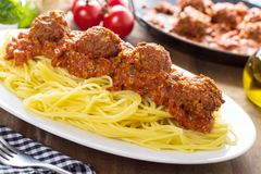 Pasta and Meatballs Stock Image