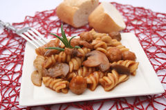 Pasta with meatballs and mushrooms Stock Images