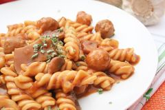 Pasta with meatballs and mushrooms Royalty Free Stock Photos