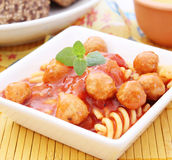 Pasta with meatballs and mushrooms Royalty Free Stock Photo