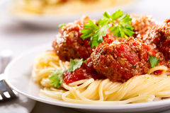 Pasta with meatballs and parsley Royalty Free Stock Photography
