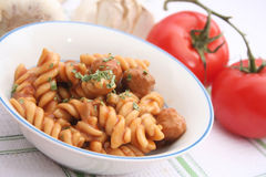 Pasta with meatballs Stock Images