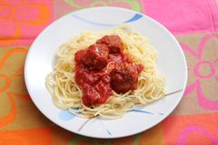 Pasta with meatballs. Some italian pasta with a sauce of tomatoes and meatballs Stock Photography