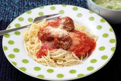 Pasta with meatballs. Some italian pasta with a sauce of tomatoes and meatballs Stock Photo