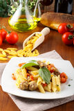 Pasta with meatballs, tomato and basil Royalty Free Stock Image