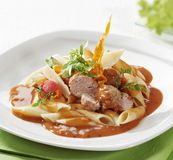Pasta and meatballs in tomato sauce Stock Photography