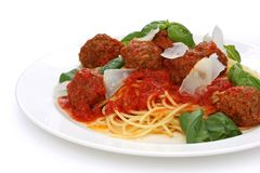 Pasta with meatballs and  tomato sauce Stock Photography