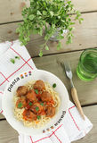 Pasta with meatballs and tomato sauce. Pasta with meatballs, tomato sauce and oregano Royalty Free Stock Photography