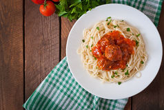 Pasta and meatballs Royalty Free Stock Photo