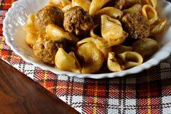 Pasta with meatballs Stock Photo