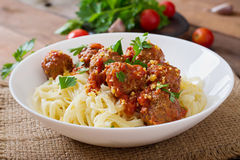 Pasta with meatballs in tomato sauce. Stock Photos
