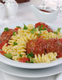 Pasta with meatballs in tomato sauce Royalty Free Stock Image
