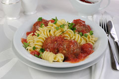 Pasta with meatballs in tomato sauce Royalty Free Stock Photos