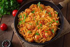 Pasta with meatballs in tomato sauce. Royalty Free Stock Photography