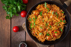 Pasta with meatballs in tomato sauce. Top view Royalty Free Stock Images