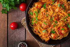 Pasta with meatballs in tomato sauce. Top view Stock Images