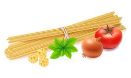 Pasta med grönsakvektorillustrationen stock illustrationer