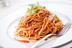 Pasta med hemlagad tomatsås Fotografering för Bildbyråer