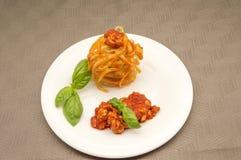 Pasta med meat arkivfoton