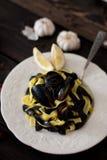 Pasta med musslor royaltyfri bild