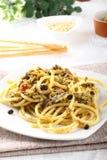 Pasta med ny sardines och fennel Royaltyfri Fotografi
