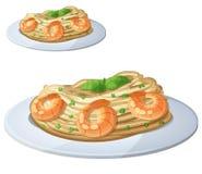 Pasta med räkor Isolerad tecknad filmvektorsymbol stock illustrationer